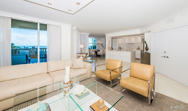 Main Living Area in Residence 5D, Tower I at The Palms, Luxury Oceanfront Condominiums Fort Lauderdale, Florida 33305