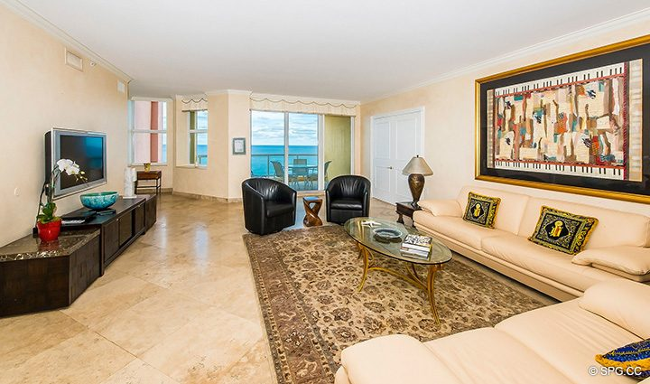 Living Room inside Residence 12A, Tower I at The Palms, Luxury Oceanfront Condominiums Fort Lauderdale, Florida 33305