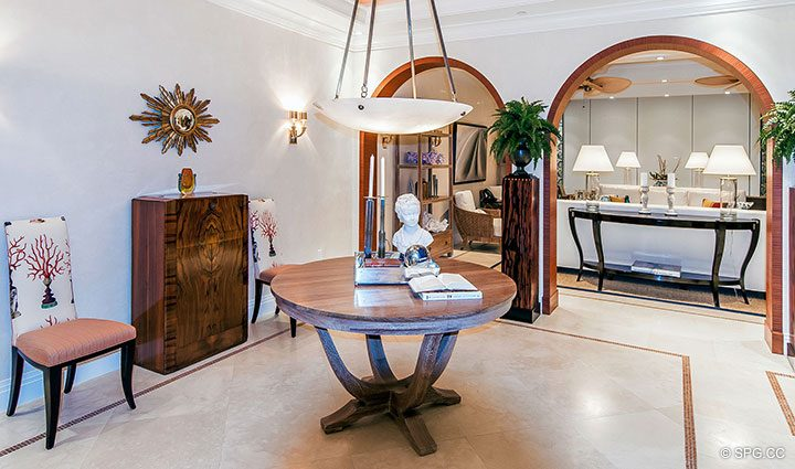 Foyer into Residence 406 at Bellaria, Luxury Oceanfront Condominiums in Palm Beach, Florida 33480.