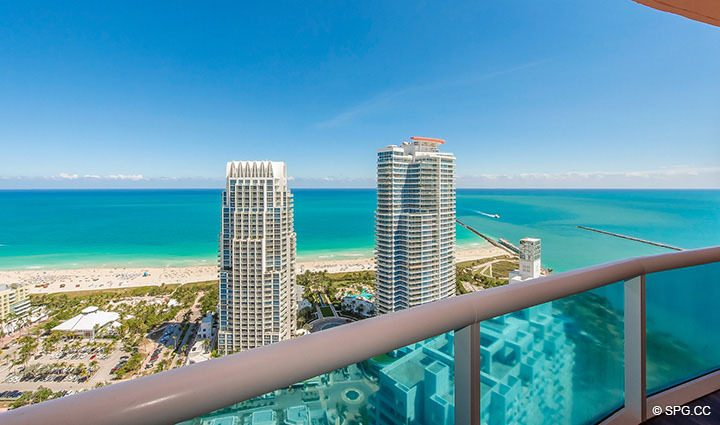 Terrace Views from Residence 3806 at Portofino Tower, Luxury Waterfront Condominiums in Miami Beach, Florida 33139