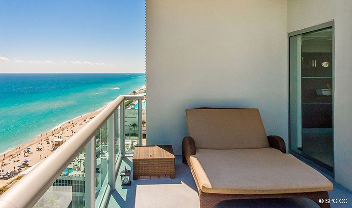 Terrace with Beach Views at Penthouse 10 at Sian Ocean Residences, Luxury Oceanfront Condominiums Hollywood Beach, Florida 33019