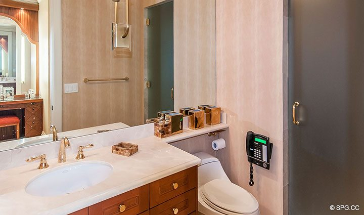 Guest Bathroom in Residence 406 at Bellaria, Luxury Oceanfront Condominiums in Palm Beach, Florida 33480.