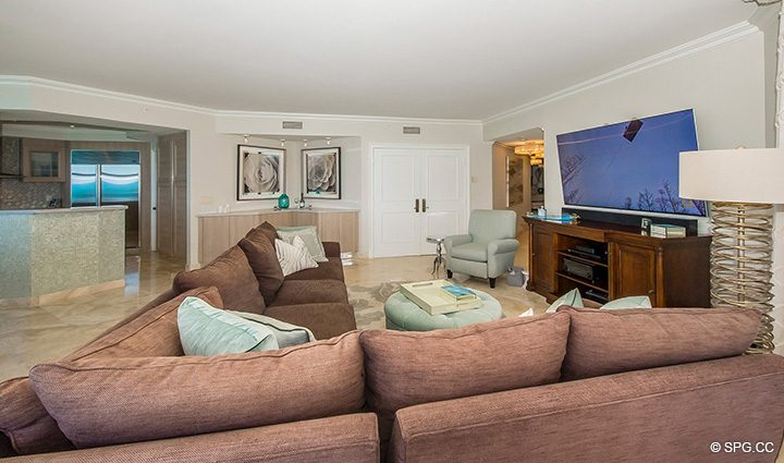 Spacious Living Room in Residence 12B, Tower I at The Palms, Luxury Oceanfront Condominiums Fort Lauderdale, Florida 33305