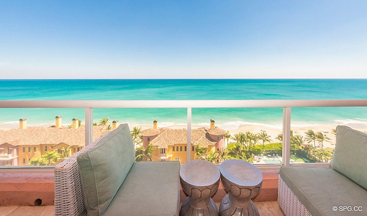Large Beachfront Terrace for Residence 12B, Tower I at The Palms, Luxury Oceanfront Condominiums Fort Lauderdale, Florida 33305