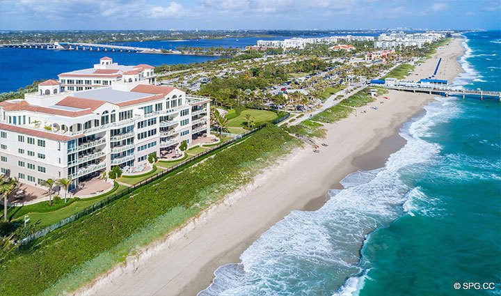 Northern Aerial Beach View of Residence 304 at Bellaria, Luxury Oceanfront Condominiums in Palm Beach, Florida 33480.