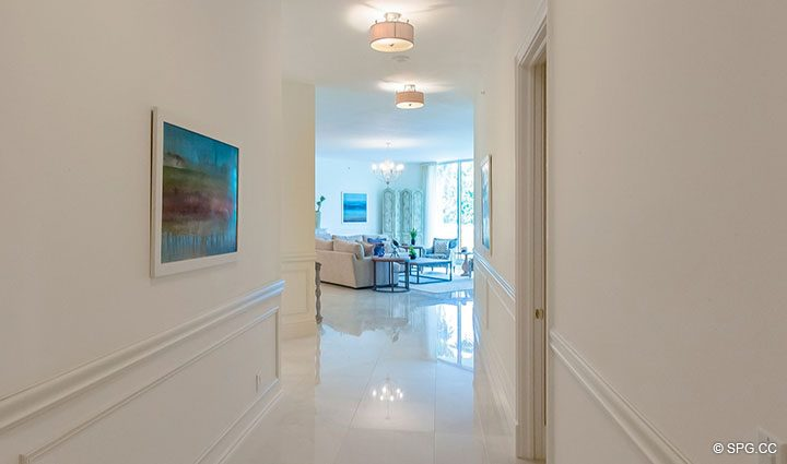 Hallway to Living Room in Residence 204 at Bellaria, Luxury Oceanfront Condominiums in Palm Beach, Florida 33480.