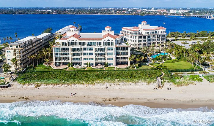 Eastern Aerial View of Residence 204 at Bellaria, Luxury Oceanfront Condominiums in Palm Beach, Florida 33480.