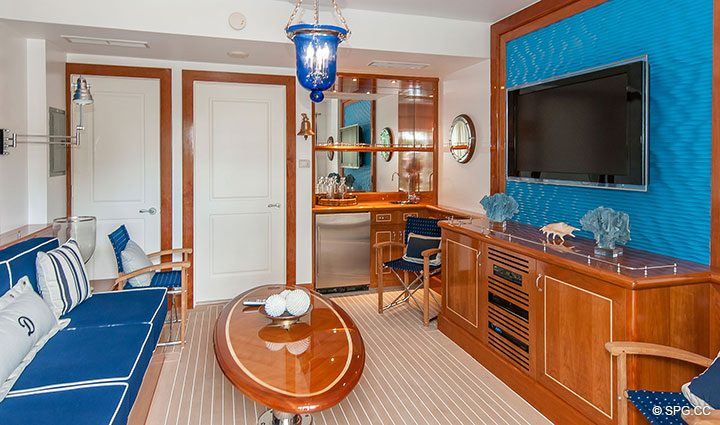 Furnished poolside Cabana for Residence 406 at Bellaria, Luxury Oceanfront Condominiums in Palm Beach, Florida 33480.