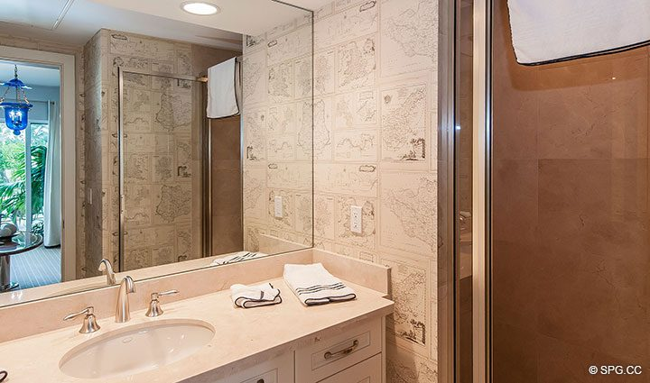 Cabana Bathroom for Residence 406 at Bellaria, Luxury Oceanfront Condominiums in Palm Beach, Florida 33480.