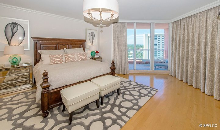 Master Bedroom inside Residence 12B, Tower I at The Palms, Luxury Oceanfront Condominiums Fort Lauderdale, Florida 33305