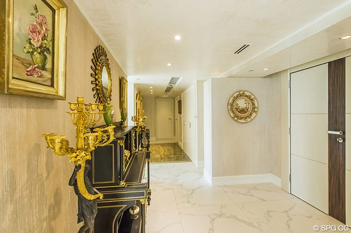 Foyer inside Residence 1106 at Acqualina, Luxury Oceanfront Condominiums in Sunny Isles Beach, Florida 33160