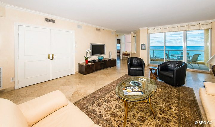 Living Room with Terrace Access in Residence 12A, Tower I at The Palms, Luxury Oceanfront Condominiums Fort Lauderdale, Florida 33305