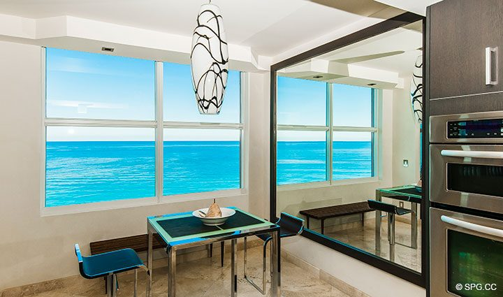 Breakfast Area inside Residence 11B, Tower I at The Palms, Luxury Oceanfront Condominiums Fort Lauderdale, Florida 33305