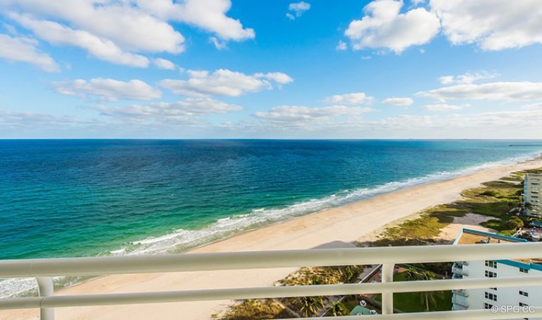 Beachfront Terrace Views from Residence 18D at Cristelle, Luxury Oceanfront Condominiums in Lauderdale by the Sea, Florida 33062.