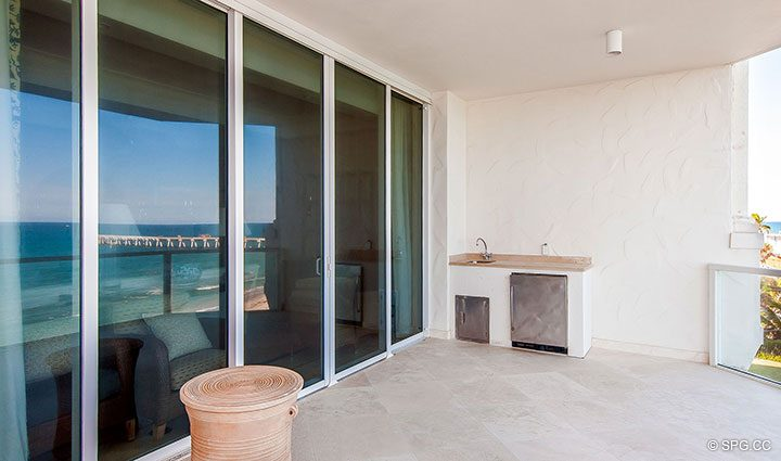 Terrace access for Residence 406 at Bellaria, Luxury Oceanfront Condominiums in Palm Beach, Florida 33480.