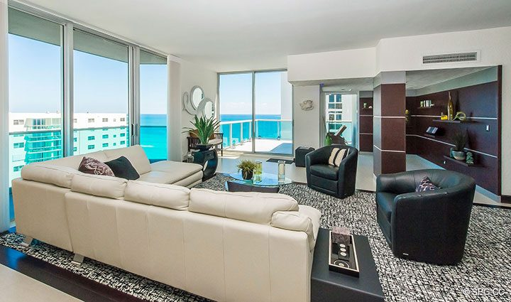 Expansive Great Room inside Penthouse 10 at Sian Ocean Residences, Luxury Oceanfront Condominiums Hollywood Beach, Florida 33019