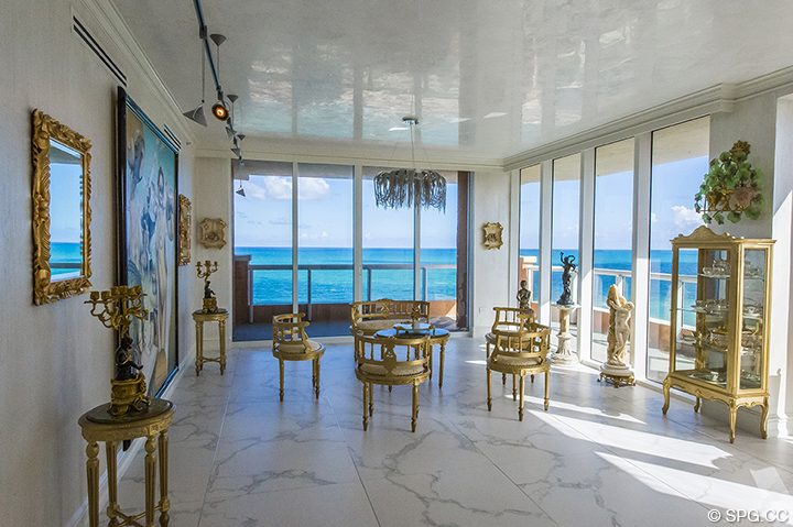 Living Room Ocean Views in Residence 1106 at Acqualina, Luxury Oceanfront Condominiums in Sunny Isles Beach, Florida 33160