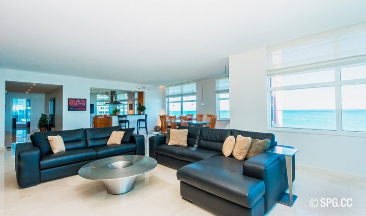 Living Room inside Residence 9B Tower 2 For Sale at The Palms, Luxury Oceanfront Condominiums Fort Lauderdale, Florida 33305