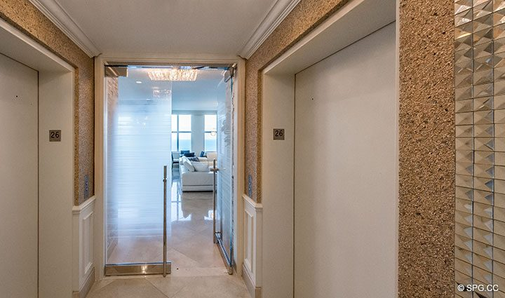 Private Elevator Landing Penthouse Residence 26A, Tower I at The Palms, Luxury Oceanfront Condos in Fort Lauderdale, Florida 33305.