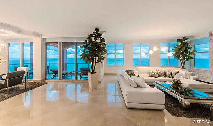 Entry into Great Room of Penthouse Residence 26A, Tower I at The Palms, Luxury Oceanfront Condos in Fort Lauderdale, Florida 33305.