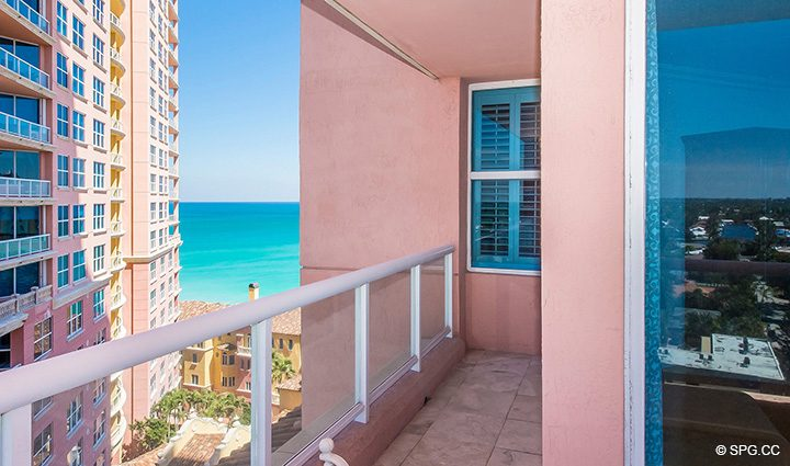 Master Terrace Partial Ocean View from Residence 12B, Tower I at The Palms, Luxury Oceanfront Condominiums Fort Lauderdale, Florida 33305