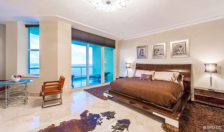 Spacious Master Suite inside Penthouse Residence 26A, Tower I at The Palms, Luxury Oceanfront Condos in Fort Lauderdale, Florida 33305.
