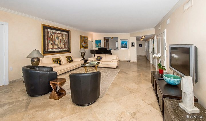 Flow Through Living Space in Residence 12A, Tower I at The Palms, Luxury Oceanfront Condominiums Fort Lauderdale, Florida 33305