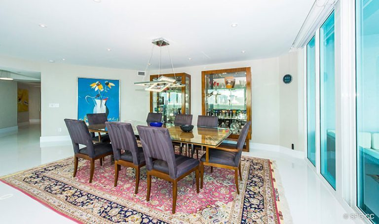 Dining Room inside Residence 18D at Cristelle, Luxury Oceanfront Condominiums in Lauderdale by the Sea, Florida 33062.