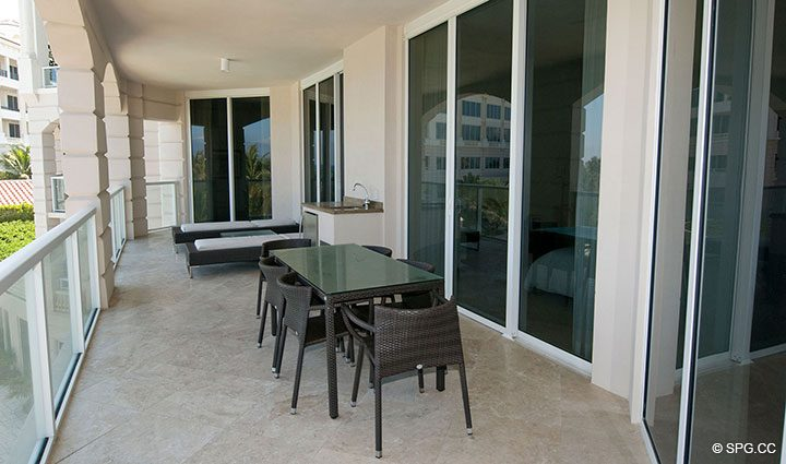 Oversized Private Terrace for Residence 304 at Bellaria, Luxury Oceanfront Condominiums in Palm Beach, Florida 33480.