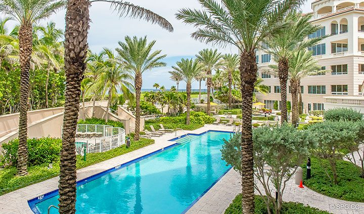 Poolside Terrace for Residence 204 at Bellaria, Luxury Oceanfront Condominiums in Palm Beach, Florida 33480.