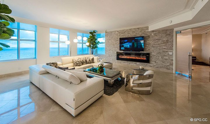 Living Room with Ocean Views in Penthouse Residence 26A, Tower I at The Palms, Luxury Oceanfront Condos in Fort Lauderdale, Florida 33305.