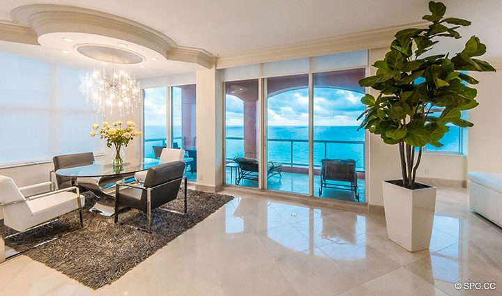 Oceanfront Dining Area inside Penthouse Residence 26A, Tower I at The Palms, Luxury Oceanfront Condos in Fort Lauderdale, Florida 33305.