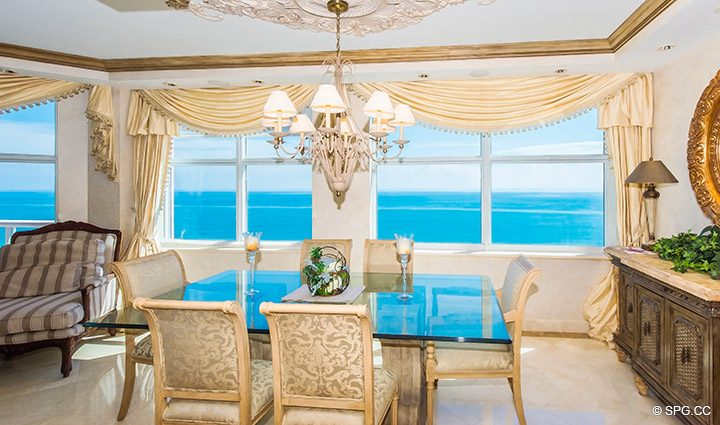 Dining Room Views from Residence 18B, Tower I at The Palms, Luxury Oceanfront Condominiums Fort Lauderdale, Florida 33305