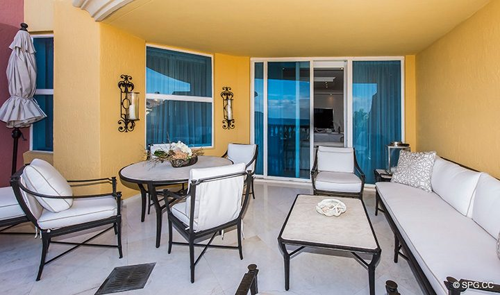 Oversized Oceanfront Terrace for Residence 5D, Tower I at The Palms, Luxury Oceanfront Condominiums Fort Lauderdale, Florida 33305