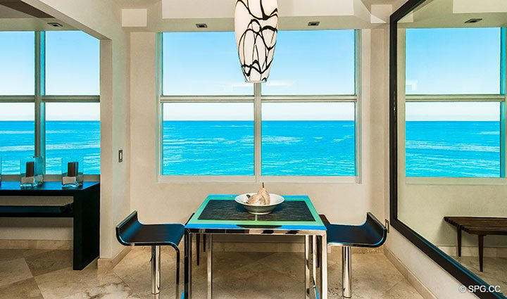 Breakfast Area Views from Residence 11B, Tower I at The Palms, Luxury Oceanfront Condominiums Fort Lauderdale, Florida 33305