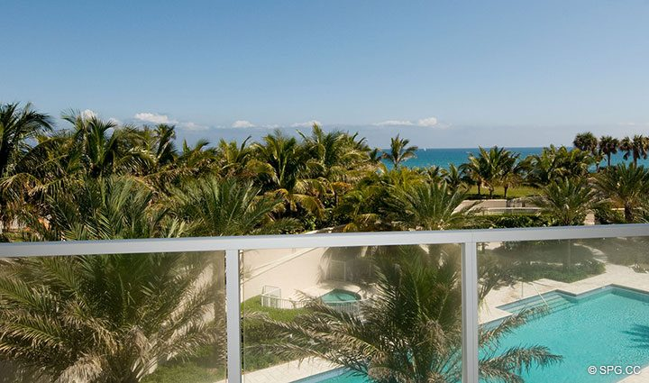 View from Terrace at Residence 304 at Bellaria, Luxury Oceanfront Condominiums in Palm Beach, Florida 33480.