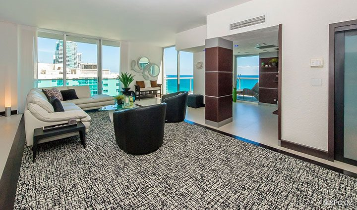 Living Room inside Penthouse 10 at Sian Ocean Residences, Luxury Oceanfront Condominiums Hollywood Beach, Florida 33019