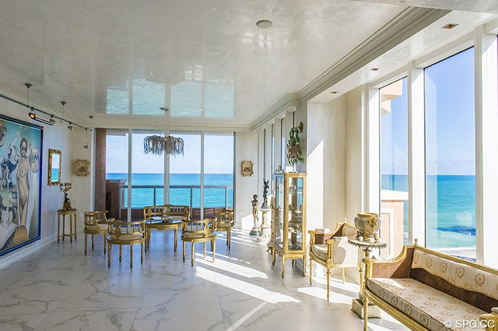 Living Room Evenings at Residence 1106 at Acqualina, Luxury Oceanfront Condominiums in Sunny Isles Beach, Florida 33160