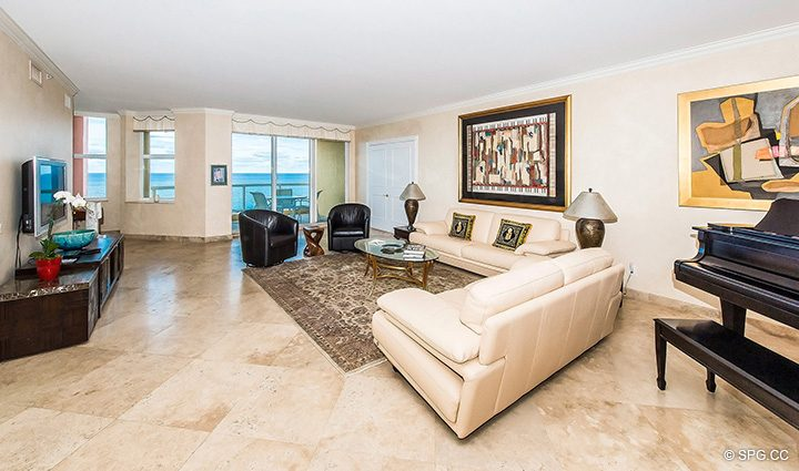 Spacious Living Room in Residence 12A, Tower I at The Palms, Luxury Oceanfront Condominiums Fort Lauderdale, Florida 33305