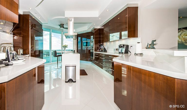 Downsview Kitchen inside Residence 18D at Cristelle, Luxury Oceanfront Condominiums in Lauderdale by the Sea, Florida 33062.