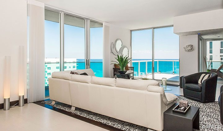 Living Room with Ocean Views in Penthouse 10 at Sian Ocean Residences, Luxury Oceanfront Condominiums Hollywood Beach, Florida 33019