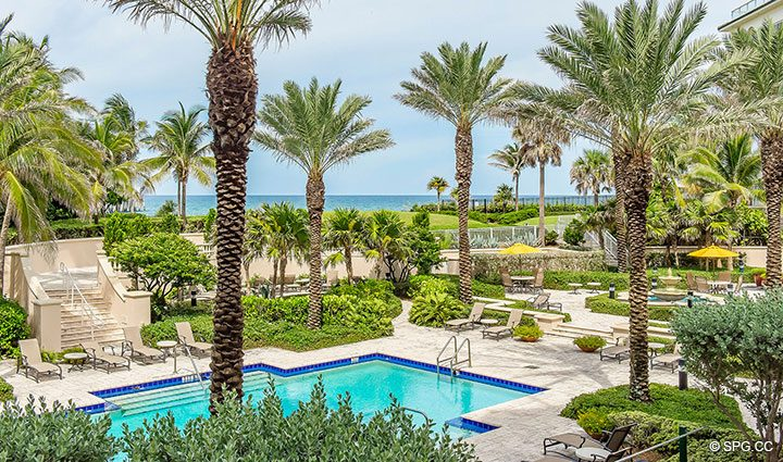 View from Extended Lanai Terrace for Residence 204 at Bellaria, Luxury Oceanfront Condominiums in Palm Beach, Florida 33480.