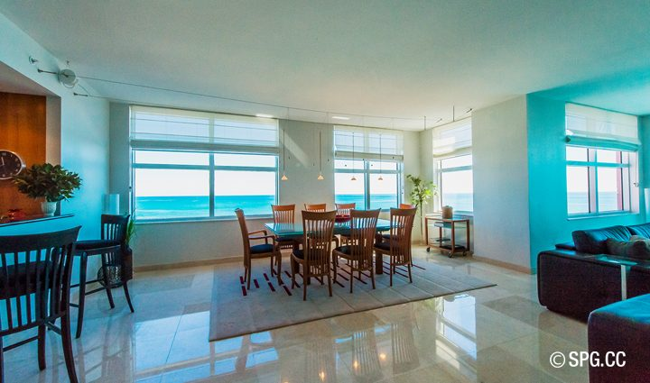 Dinning inside Residence 9B Tower 2 For Sale at The Palms, Luxury Oceanfront Condominiums Fort Lauderdale, Florida 33305