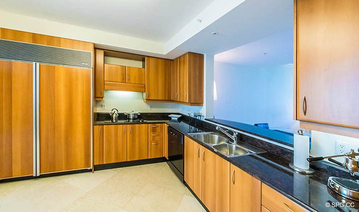 Kitchen inside Residence 10D, Tower II at The Palms, Luxury Oceanfront Condominiums Fort Lauderdale, Florida 33305