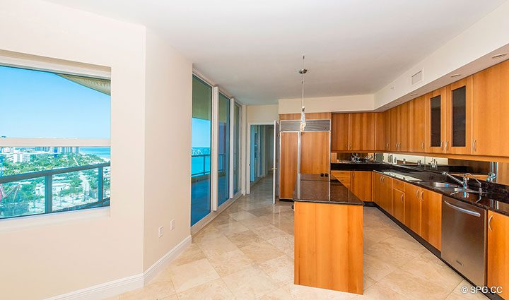 Kitchen in Residence 19A/D, Tower II at The Palms, Luxury Oceanfront Condominiums Fort Lauderdale, Florida 33305