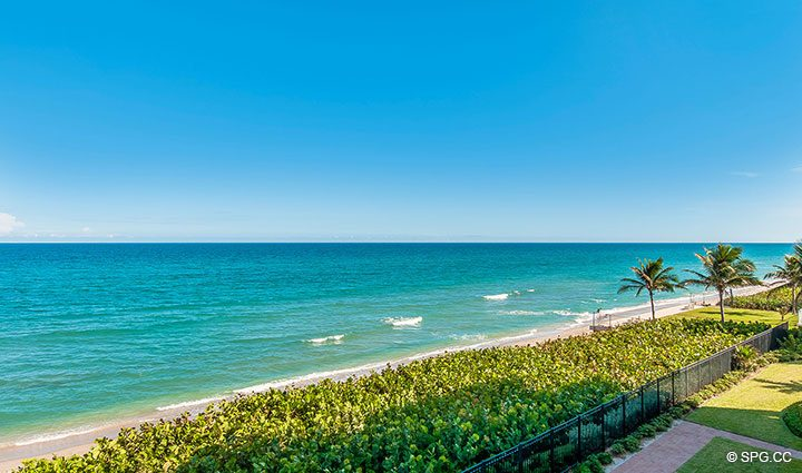 Terrace Views from Residence 406 at Bellaria, Luxury Oceanfront Condominiums in Palm Beach, Florida 33480.