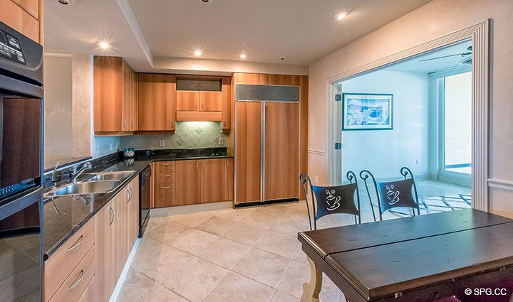 Spacious Gourmet Kitchen inside Residence 6A, Tower II For Sale at The Palms, Luxury Oceanfront Condominiums Fort Lauderdale, Florida 33305