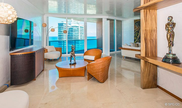 Living Room inside Residence 3806 at Portofino Tower, Luxury Waterfront Condominiums in Miami Beach, Florida 33139