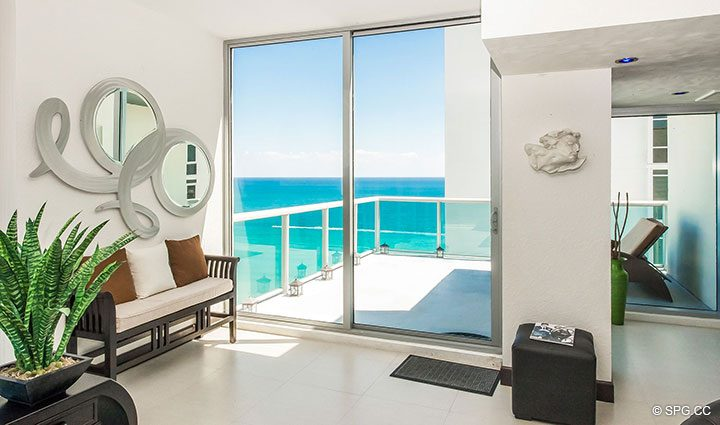 Living Room Terrace for Penthouse 10 at Sian Ocean Residences, Luxury Oceanfront Condominiums Hollywood Beach, Florida 33019