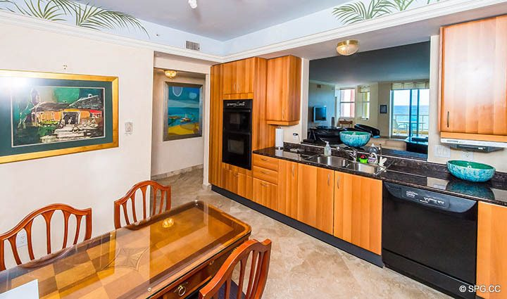 Kitchen with Ocean Views in Residence 12A, Tower I at The Palms, Luxury Oceanfront Condominiums Fort Lauderdale, Florida 33305